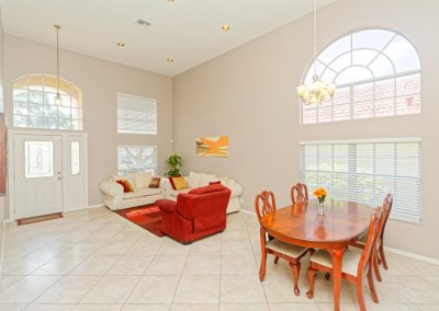 An example photo of an almost all white living room