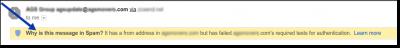 gmail authentication failure